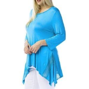 "Women's Plus Size Blue Tunics Bust: 50""-54"""